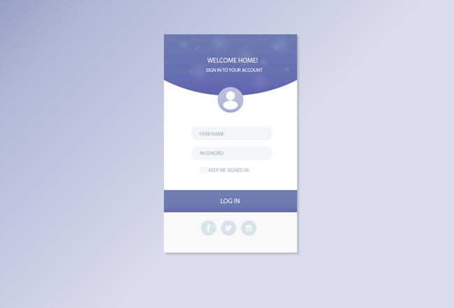 app登录界面_扁平化蓝色调app登录界面设计素材