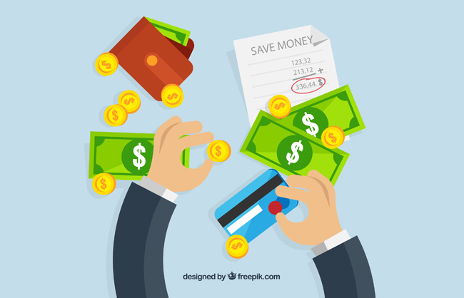 创意钱币金币和存钱的手臂矢量图  扁平化手动作  银行卡  金币  金融