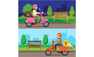 骑车送货的城市快递员形
