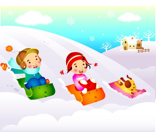 跟狗狗在冬天雪地里面滑雪的卡通儿童设计图片