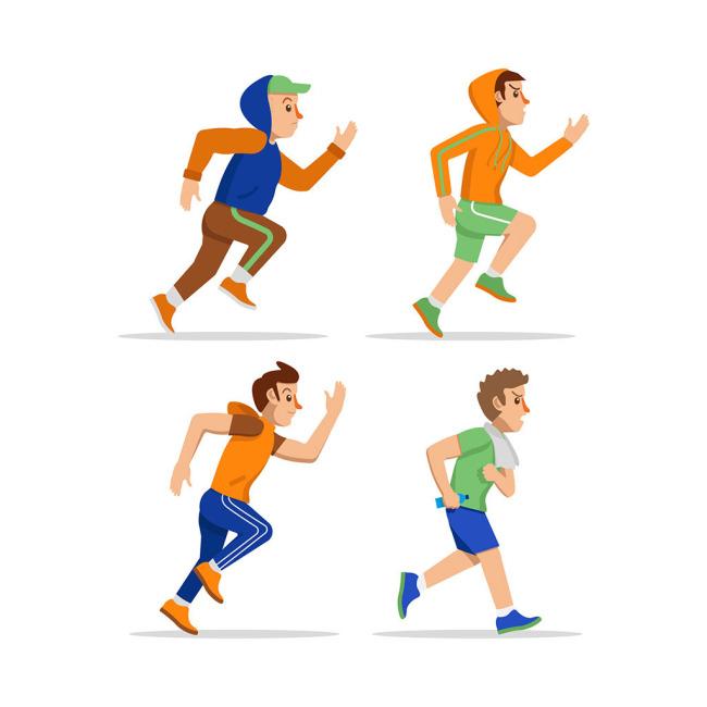 四个跑步的人矢量素材  跑步健身的人物形象设计 正在跑步的男子形象图片