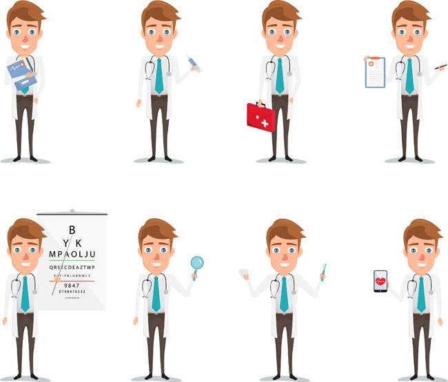 医院男医师各种听诊动作设计矢量素材  医生  医师  动漫卡通医学讲