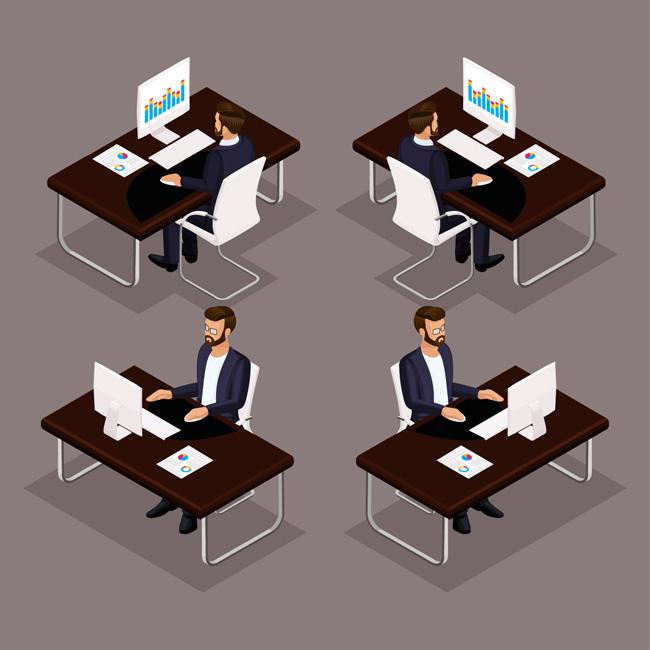 面分解场景设计素材  职业人物设计素材图  扁平化办公桌场景设计素材
