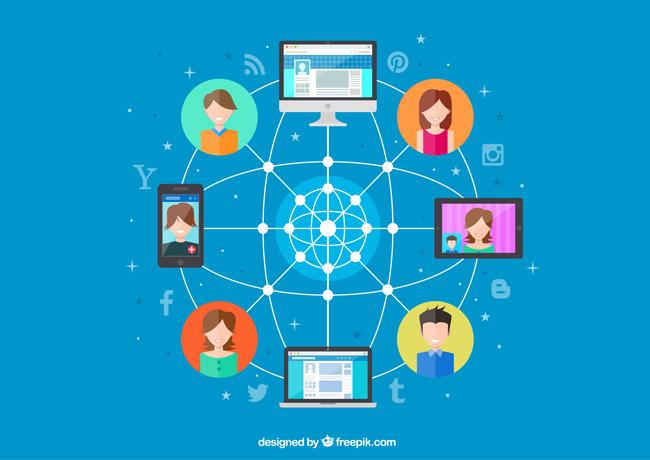 蓝色背景社交网络连接背景设计素材
