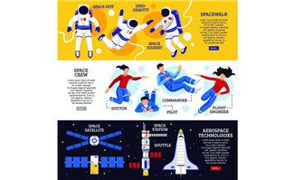 宇航员外太空社区概念矢量图