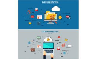 云数据办公科技元素扁平化蓝色背景设计
