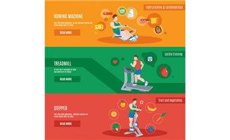 扁平化健身运动中男子动作设计背景素材