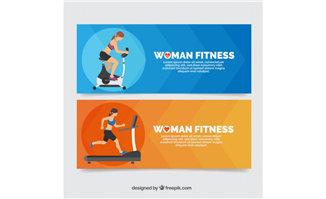 女性健身运动员正在健身的动作设计背景素材