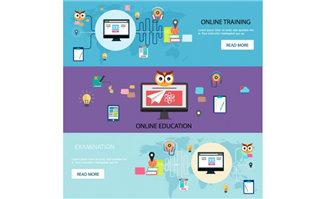 线上教育培训机构网页广告背景设计矢量素材