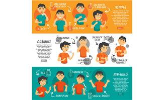 3副广告背景卡通动漫人物各种表情设计素材