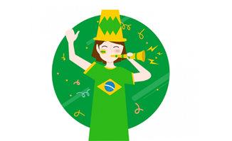 巴西世界杯主题绿色卡通