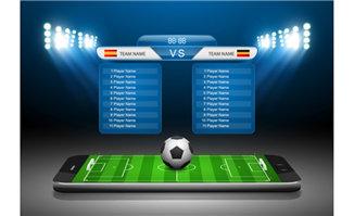 智能手机上足球运动场聚
