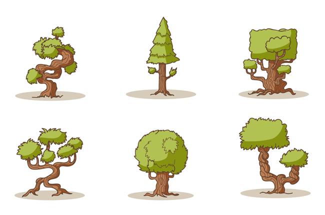盆景树木造型设计素材下载_漫品购_mg动画短片素材_源
