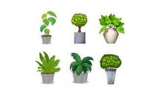 6款手绘卡通绿色植物花卉