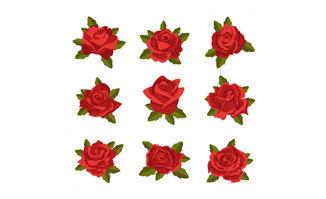 9款红色玫瑰矢量素材下载