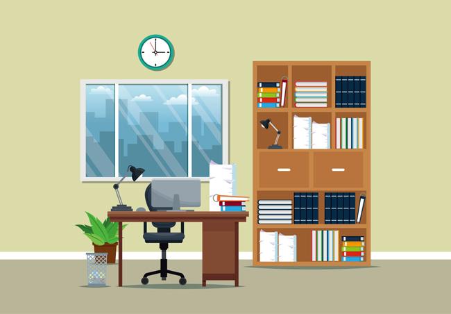 扁平化家庭办公室场景设计矢量素材_漫品购_mg动画_源