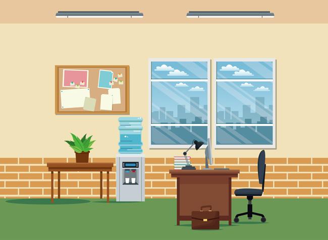 黄色暖色调办公室办公桌侧面设计素材_漫品购_mg动画