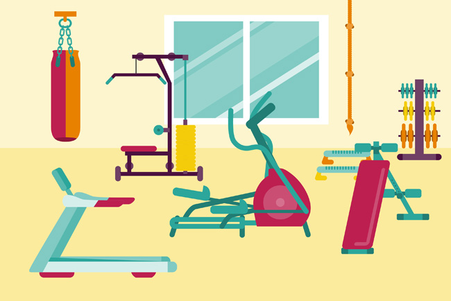 扁平化风格健身器材道具造型设计素材_漫品购_mg动画