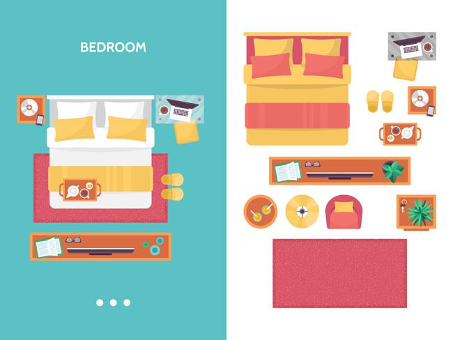 扁平化手绘房型家居装修布置矢量  扁平化卧室场景设计矢量素材下载