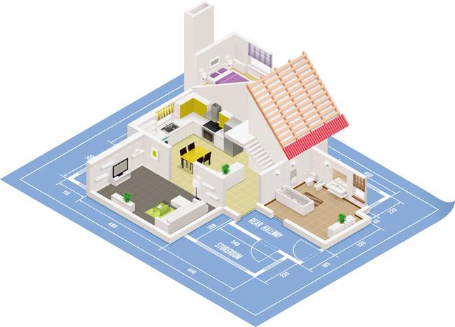俯视别墅房屋建筑结构效果图设计