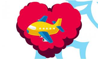 飞机飞过一个红色桃心后