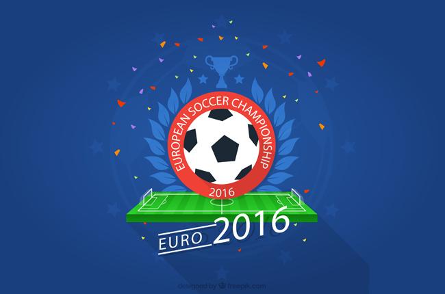 创意足球场上足球标签设计海报背景素材