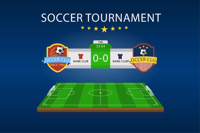 足球比赛海报2支球队logo排版设计素材