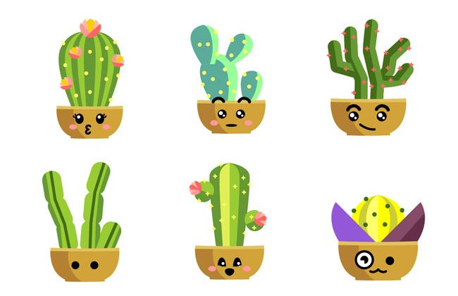 6组可爱卡通动漫表情的小盆景仙人掌植物  可爱手绘仙人掌矢量素材