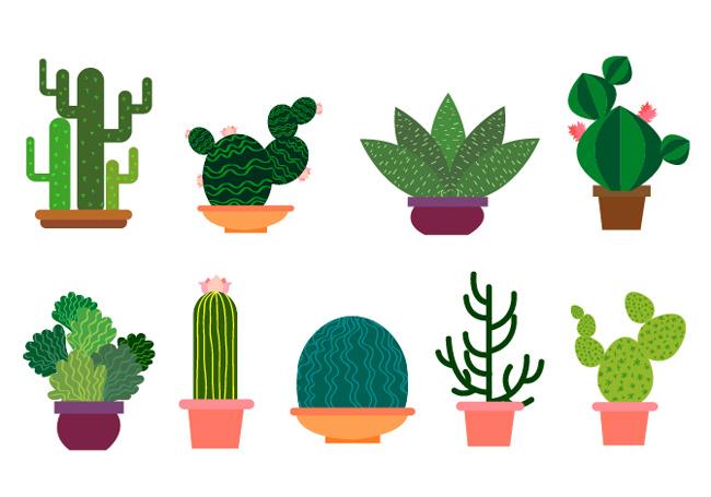 绿色多肉植物盆栽矢量图  扁平化小植物盆栽素材下载