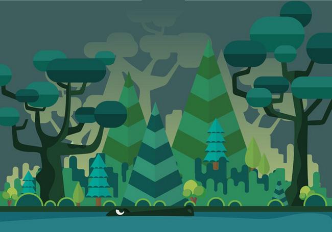 创意夜色下扁平化风格的森林背景设计素材