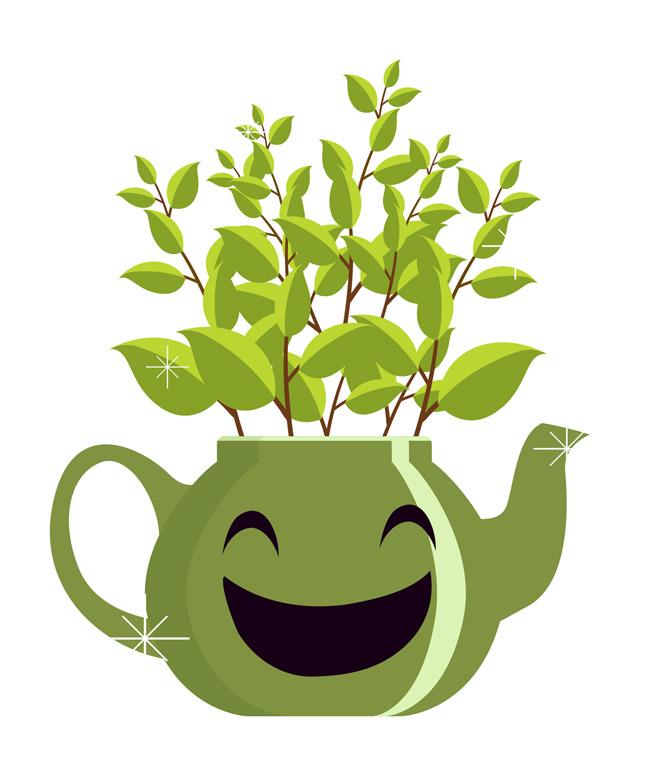 绿色微笑的茶壶小盆栽矢量图  卡通手绘茶壶造型盆景设计素材下载