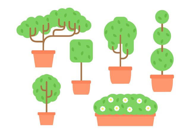 扁平化卡通小盆景植物造型设计矢量素材