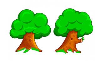 手绘漫画卡通动漫大树植