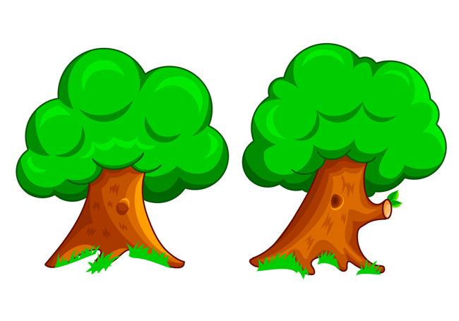 手绘漫画卡通动漫大树植物造型设计素材