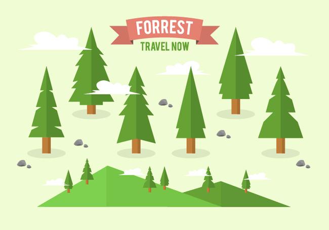 创意扁平化绿色大树造型设计矢量素材