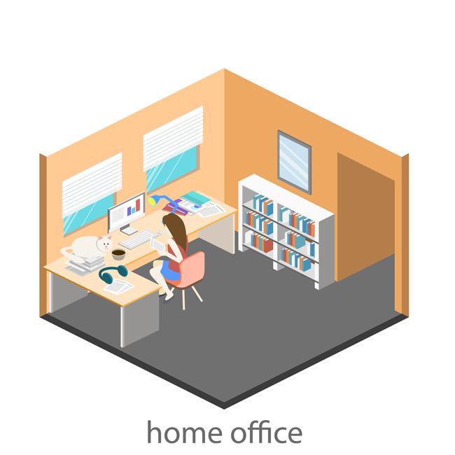 女生单独的办公室场景设计素材下载_漫品购_mg动画_源