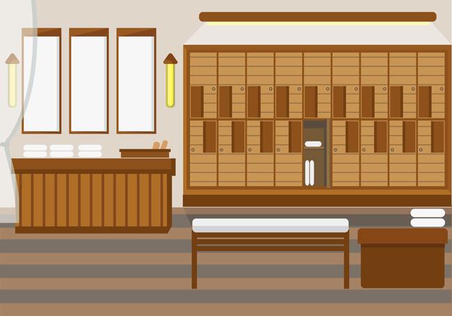 中式风格的室内装修设计矢量素材下载  中药世家药房场景设计素材