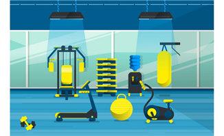 蓝色背景黄色器材的健身