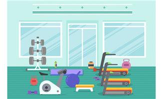 跑步机扁平化健身房的器