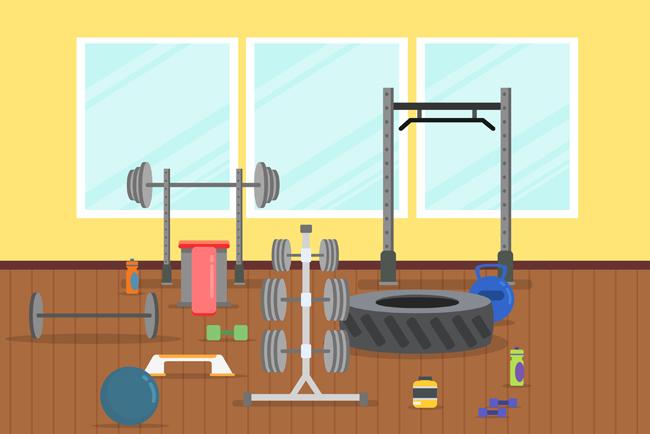小型健身房场景设计矢量素材下载