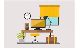 电脑办公桌场景设计矢量