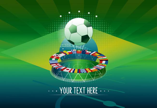绿色背景场馆造型背景设计足球比赛海报素材