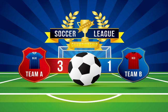 足球比賽創意海報背景設計矢量素材下載