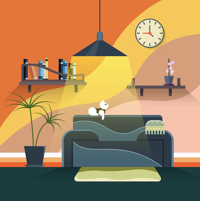 创意色彩客厅沙发场景设计矢量素材