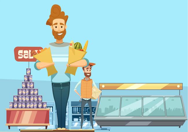 卡通动漫父子一起购物的场景设计素材_漫品购_mg动画
