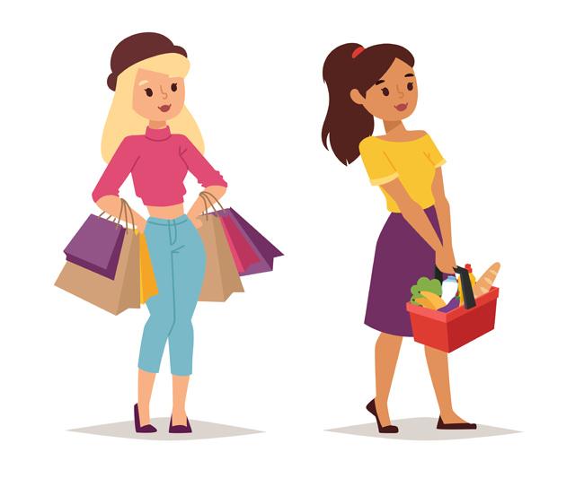 购物卡通时髦女孩形象设计矢量素材 购物女性人物  购物卡通动漫