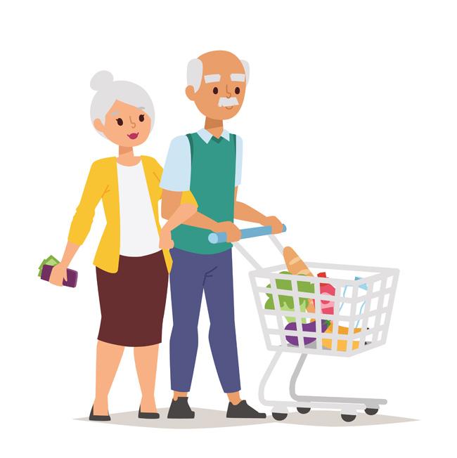 老两口出门购物的漫画设计素材  购物人物老人  购物中的老人形象设