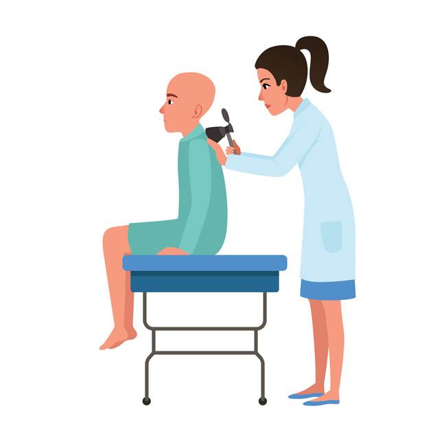 医生正在病人检查背部的健康情况漫画设计
