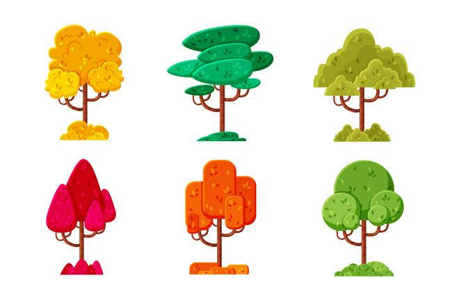 6款创意造型的春夏秋冬植物造型设计素材图片