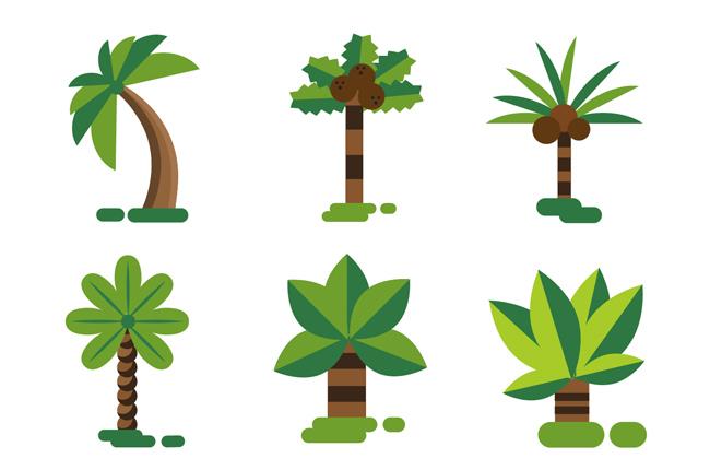 矢量创意扁平化树木  绿色植物树木造型设计矢量素材下载